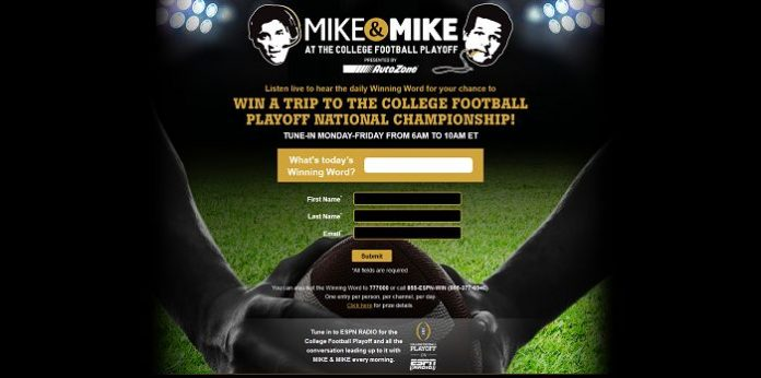 MikesPlayoffTrip.com - Mike & Mike At The College Football Playoff Sweepstakes