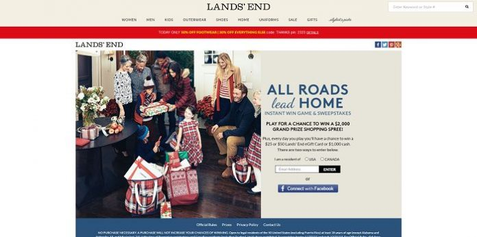 Lands' End: All Roads Lead Home Instant Win Game And Sweepstakes