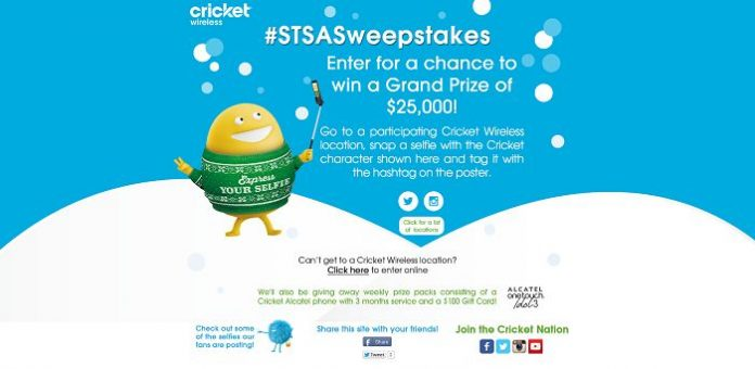 Cricket Wireless Selfie Sweepstakes (STSASweepstakes.com)