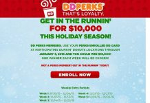 Dunkin' Donuts $10,000 Weekly Perks Sweepstakes