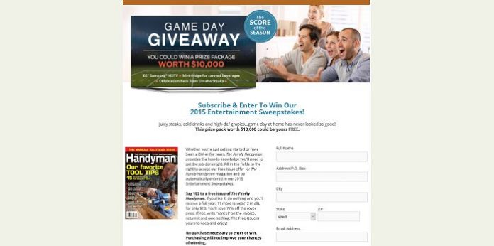 Familyhandyman.com/GamedayGiveaway - Family Handyman Magazine Game Day Giveaway