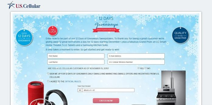 U.S. Cellular 12 Days of Giveaways Sweepstakes (USCellular.com/12Days)
