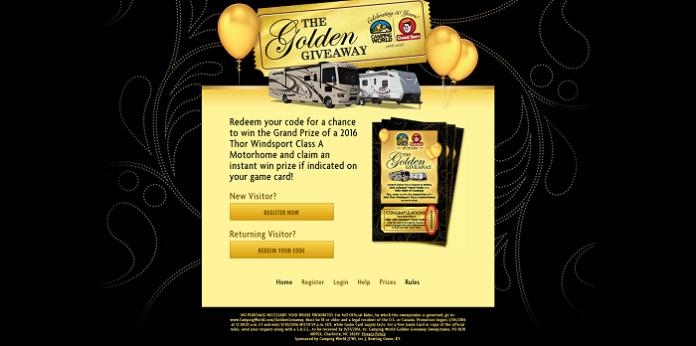CampingWorld.com/GoldenGiveaway - Camping World The Golden Giveaway
