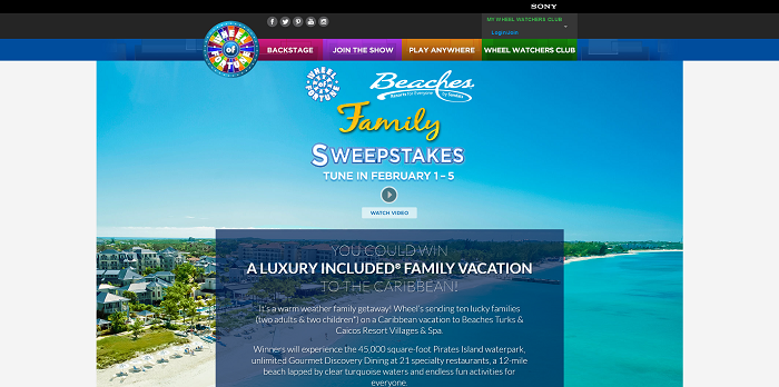 wheel of fortune.com beaches sweepstakes