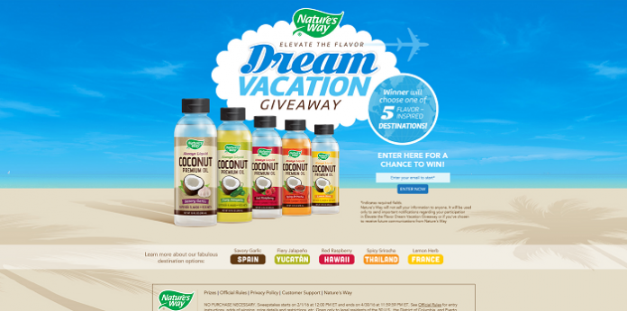 Nature's Way Elevate The Flavor Dream Vacation Giveaway
