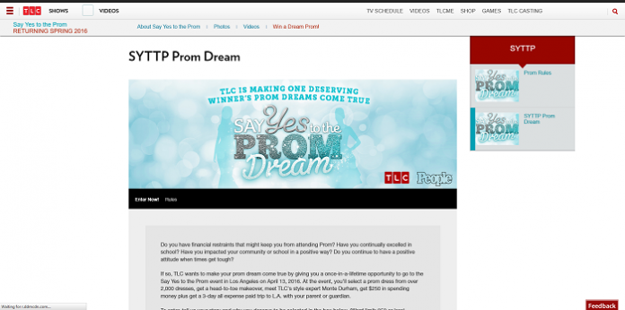 TLC.com/PromDream - TLC SYTTP Prom Dream Contest 2016