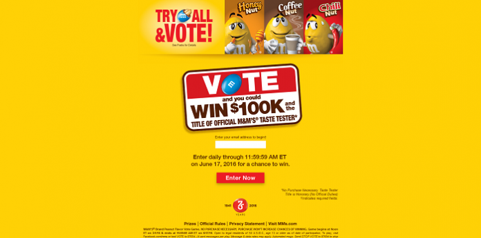 M&M'S 2016 Flavor Vote Sweepstakes