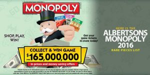 Albertsons Monopoly 2016 Rare Pieces