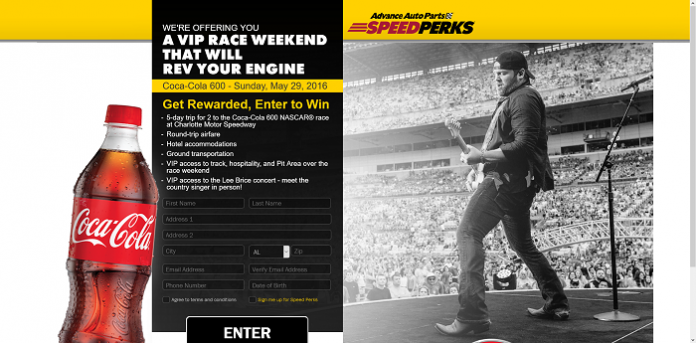 Advance Auto Parts Speed Perks Coca-Cola 600 Sweepstakes