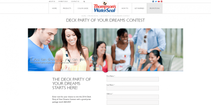 Thompson's WaterSeal Deck Party of Your Dreams Contest 2016