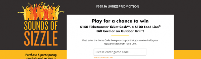FoodLion.com/Sizzle - Food Lion Sounds Of Sizzle Instant Win Game