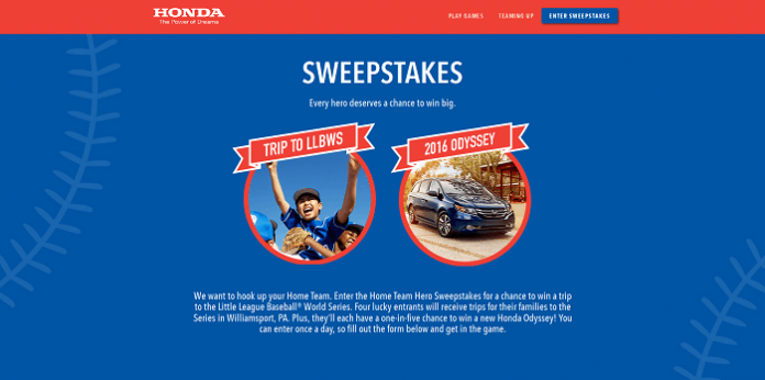 Honda Home Team Heroes Sweepstakes