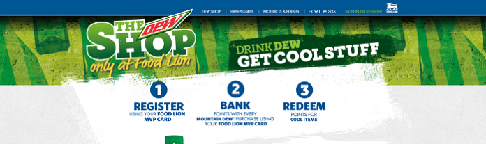 FoodLionDewShop.com - Food Lion Brings You The Dew Shop 2016 Sweepstakes
