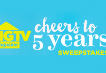 HGTV.com/FiveYears - HGTV Cheers To 5 Years Sweepstakes