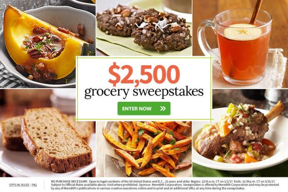 BHG $2,500 Grocery Sweepstakes (BHG.com/Grocery)