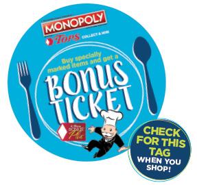 Tops Monopoly Bonus Ticket