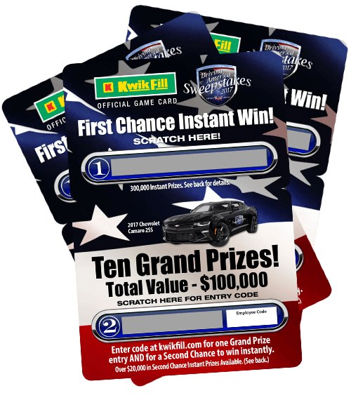 Official 2017 Kwik Fill Driving America Sweepstakes Game Card