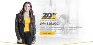 Advance America 20th Anniversary Fast Cash Sweepstakes