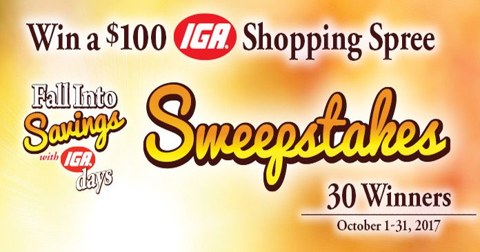 iga fall into savings sweepstakes 2017 win a 100 iga gift card. Black Bedroom Furniture Sets. Home Design Ideas