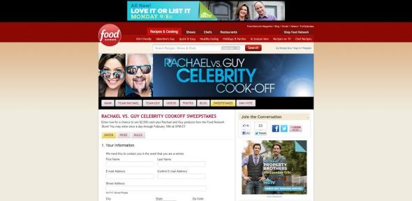 Rachael vs. Guy Celebrity Cookoff Sweepstakes