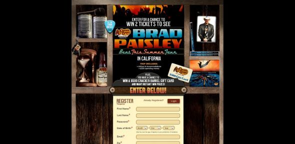 Cracker Barrel Old Country Store Win a Trip to See Brad Paisley in Concert Sweepstakes
