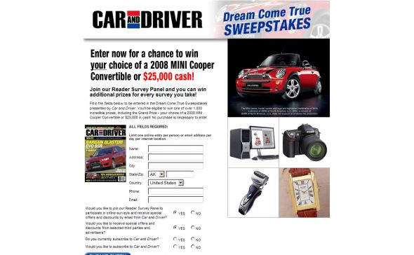 Car and Driver Dream Come True Sweepstakes!