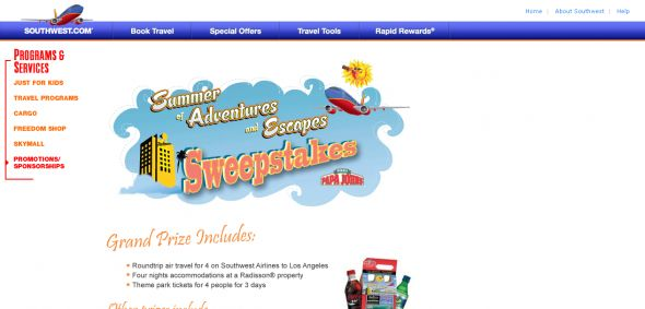 Southwest Airlines – Summer of Adventure and Escapes Sweepstakes