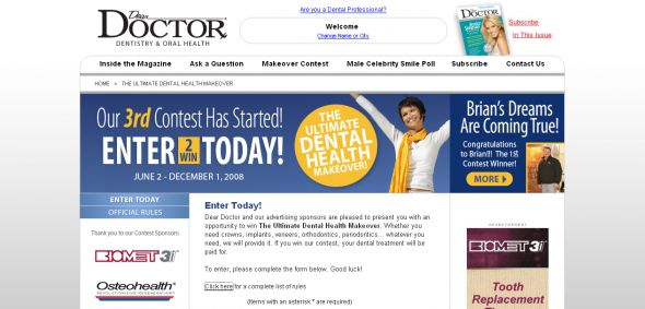 Dental Makeover Contest – Win the Dear Doctor Ultimate Dental Health Makeover Contest