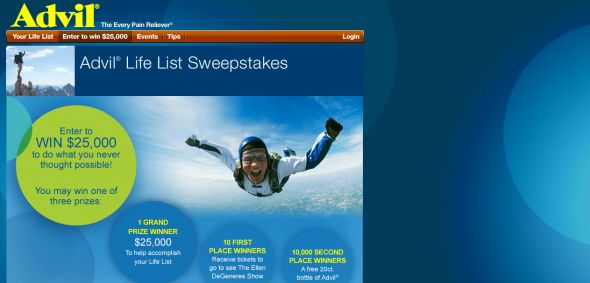 Advil $25,000 Life List Sweepstakes