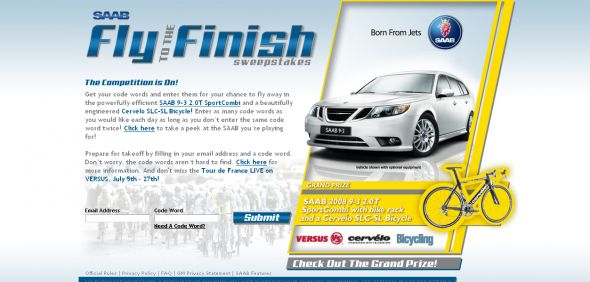 SAAB Fly to the Finish Sweepstakes