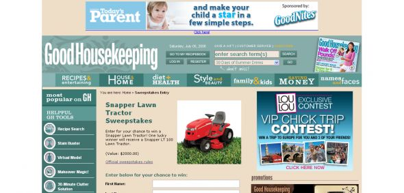Good Housekeeping – Snapper Lawn Tractor Sweepstakes