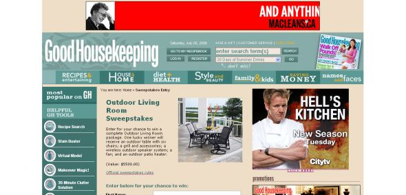 Good Housekeeping – Outdoor Living Room Sweepstakes