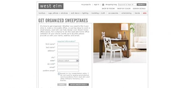 West Elm  sweepstakes