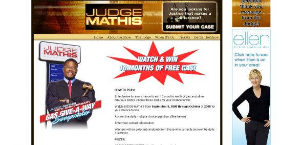 Judge Mathis 10th Anniversary Gas Give-a-way Sweepstakes