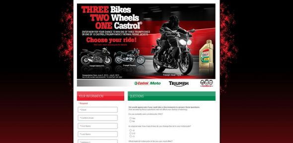 Castrol 2013 Triumph Motorcycle Sweepstakes
