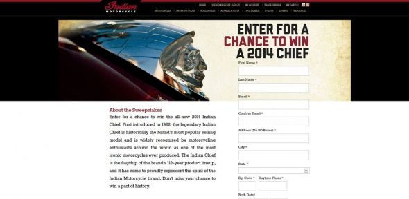 Indian Motorcycle Bike Sweepstakes