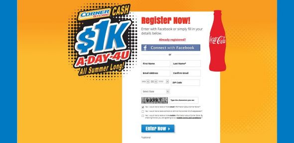 Coca-Cola & Corner Store Cash Giveaway Sweepstakes