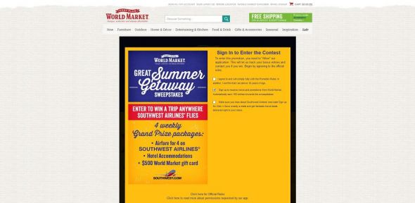 World Market's Great Summer Getaway Sweepstakes