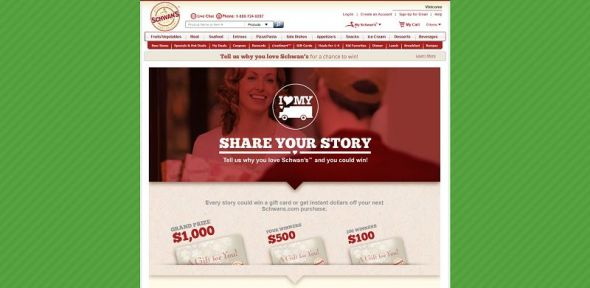 schwans.com/love – Share Your Schwan's Story Instant Win Game