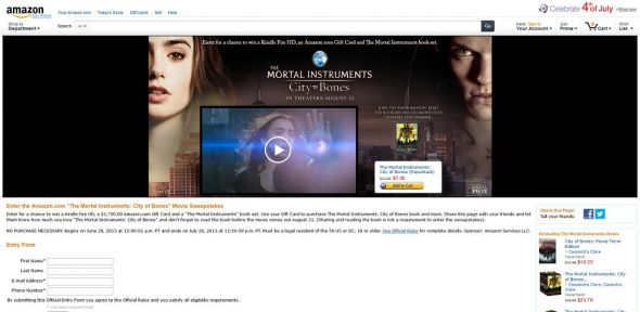 Amazon.com The Mortal Instruments: City of Bones Movie Sweepstakes