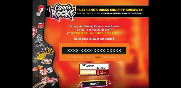 canesrocks.com – Cane's Rocks Instant Win And Sweepstakes
