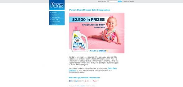 Purex Sharp Dressed Baby Sweepstakes