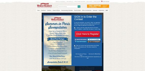 World Market's Summer in Paris Sweepstakes