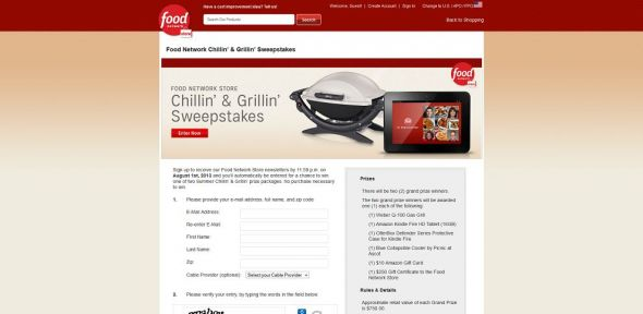 Food Network Store Summer Chillin' and Grillin' Sweepstakes