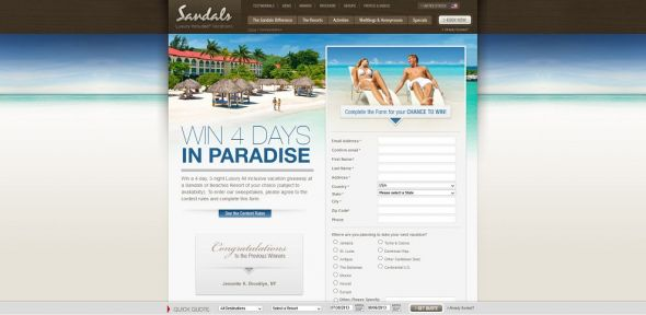 Sandals and Beaches Giveaway Sweepstakes