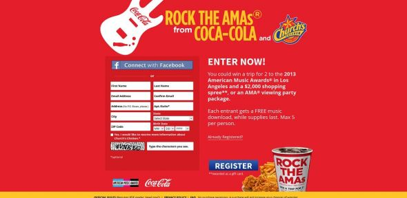 cocacolarocktheamas.com – Coca-Cola and Church's Music Sweepstakes