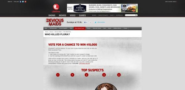 Devious Maids Who Killed Flora? Sweepstakes