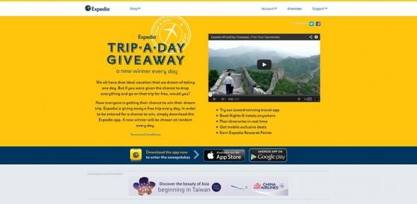 Expedia Trip A Day Giveaway