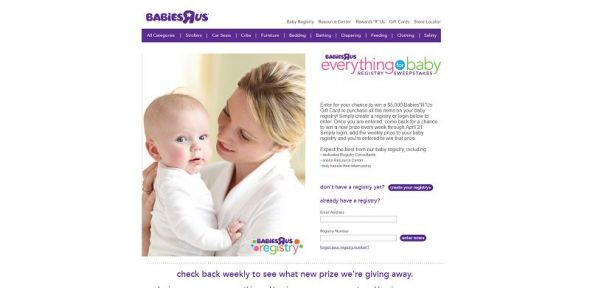 Babies R Us Everything For Baby Registry Sweepstakes