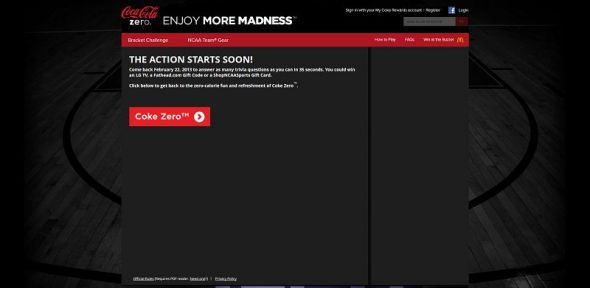 enjoymoremadness.com – Coke Zero: 35 Second Pressure Test Sweepstakes